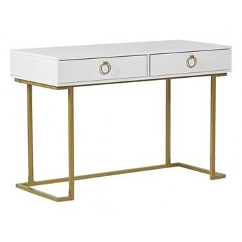 Biurko / Konsola 2 szuflady biało-złota WESTPORT kod: 4251682252706
