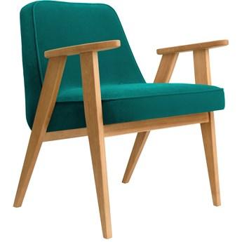 Fotel 366 Velvet Turquoise dąb 02, proj. J. Chierowski