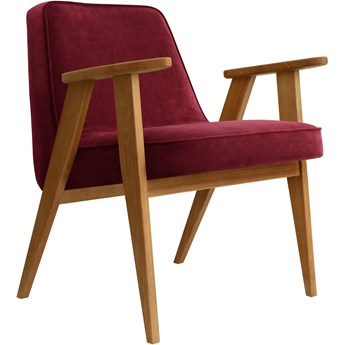 Fotel 366 Velvet Merlot dąb 03, proj. J. Chierowski