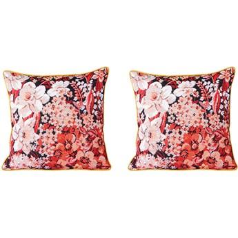 Para poduszek z kwiatowym nadrukiem koralowo-biało-czarne, HKliving