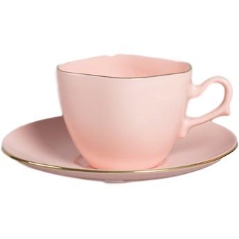Filiżanka Anna Maria do espresso - różowa porcelana złoty pasek, proj. K. Czuba, AS Ćmielów