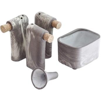 Komplet trzech solniczek i pieprzniczek z pojemnikiem i lejkiem LOF S Marbled, FÓBE