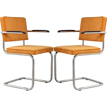 Para krzeseł Ridge Rib z podłokietnikami żółte, Zuiver