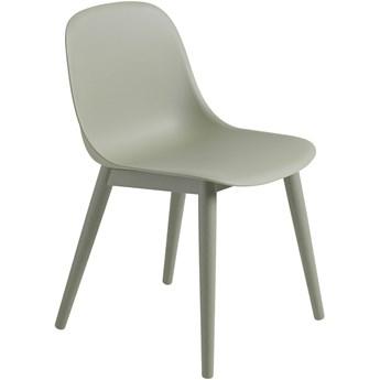 Krzesło Fiber drewniana podstawa/pudrowy zielony, proj. Iskos-Berlin, Muuto
