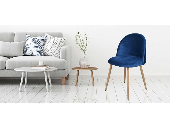 Krzesło tapicerowane Jazz Velvet granatowy Wysokość 78 cm Głębokość 48 cm Tkanina Metal Szerokość 49 cm Krzesło inspirowane Drewno Wysokość 79 cm Styl Skandynawski Welur Tworzywo sztuczne Kategoria Krzesła kuchenne