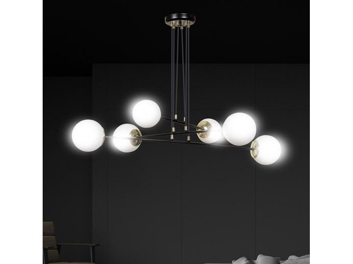 OGNIS 6 BLACK 966/6 lampa wisząca regulowana złote elementy szklane klosze