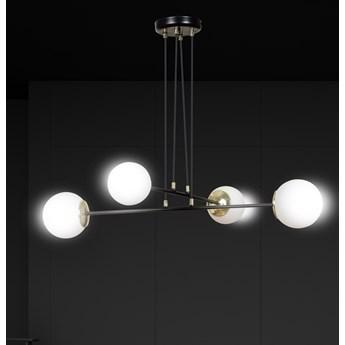 OGNIS 4 BLACK 966/4 lampa wisząca regulowana złote elementy szklane klosze