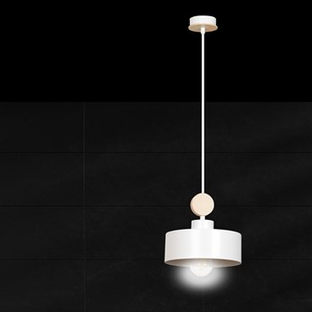 TUNISO 1 WHITE 583/1 wisząca lampa styl skandynawski drewno biała szeroki klosz