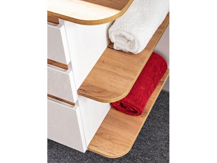 Szafka pod umywalkę z szufladami - Sewilla 3X Biały połysk Szerokość 94 cm Głębokość 50 cm Wiszące Wysokość 64 cm Kolor Szary