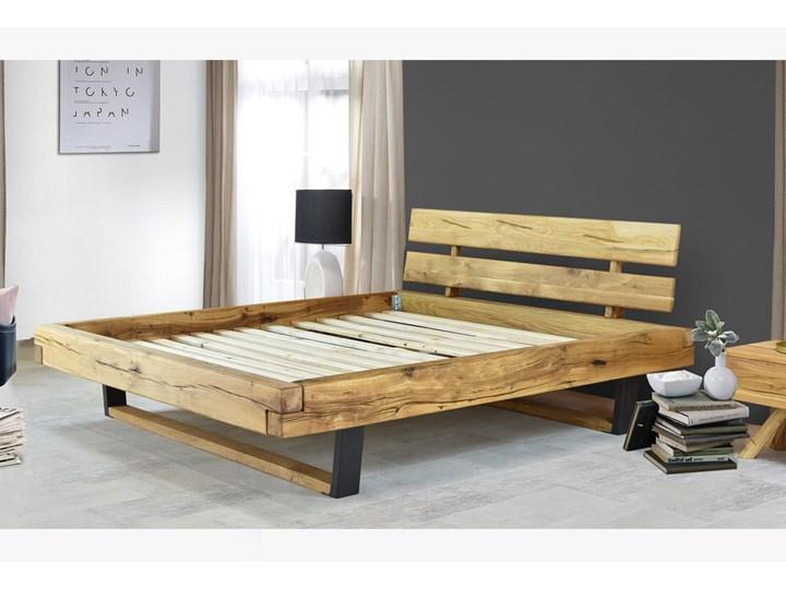 Łóżko drewniane dębowe z metalowymi nogami Natural 7 160x200 Łóżko metalowe Kolor Szary