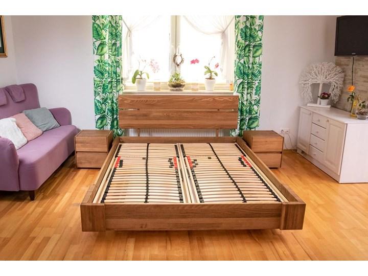 Beriet łóżko z drewna bukowego lewitujące 140x200 cm, wybarwienie orzech (OR) Pojemnik na pościel Z pojemnikiem Łóżko drewniane Kolor Szary