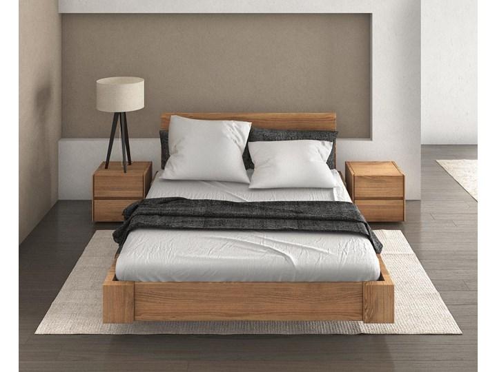 Beriet łóżko z drewna bukowego lewitujące 140x200 cm, wybarwienie orzech (OR) Łóżko drewniane Kolor Szary Pojemnik na pościel Z pojemnikiem