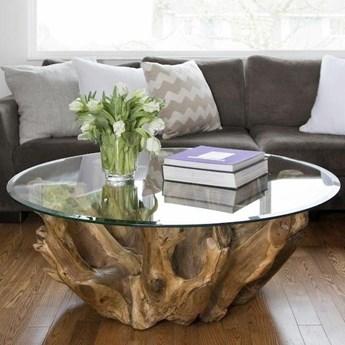 Okrągły stolik kawowy MADURAJ Korzeń tekowy śr. 80cm