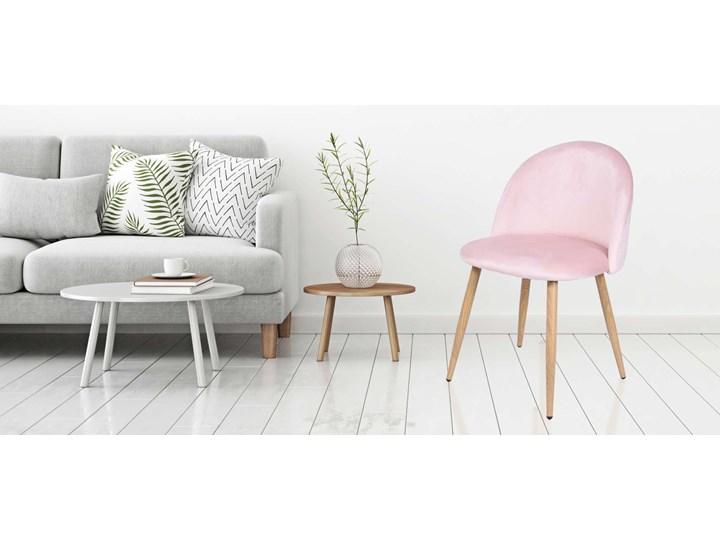 Krzesło aksamitne K-JAZZ VELVET różowe Wysokość 78 cm Metal Szerokość 48 cm Wysokość 33 cm Szerokość 49 cm Welur Wysokość 79 cm Głębokość 42 cm Tkanina Drewno Tworzywo sztuczne Tapicerowane Głębokość 48 cm Kolor Różowy