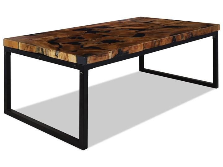 vidaXL Stolik kawowy z drewna tekowego i żywicy, 110 x 60 x 40 cm Stal Drewno Rodzaj nóg Płozy Kolor Czarny