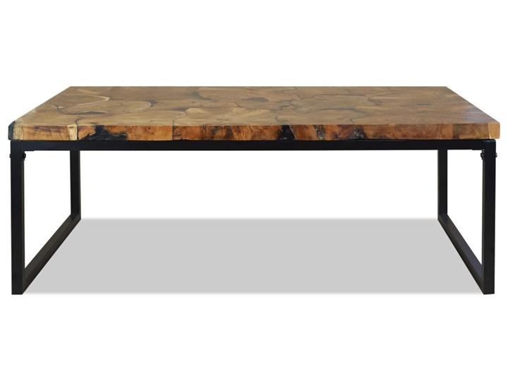 vidaXL Stolik kawowy z drewna tekowego i żywicy, 110 x 60 x 40 cm Stal Kolor Brązowy Drewno Kolor Czarny