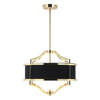 """Lampa wisząca metalowa złota abażur materiałowy czarny """" Stef NERO Cromo S """" 4x40w"""