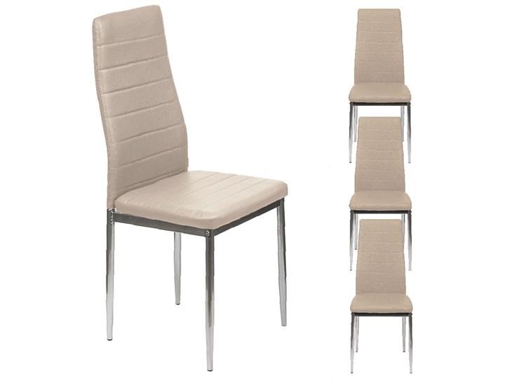 4 KRZESŁA TAPICEROWANE K1 PASY EKOSKÓRA BEŻ, NOGI SREBRNE Tkanina Kategoria Krzesła kuchenne Stal Metal Skóra ekologiczna Kolor Srebrny