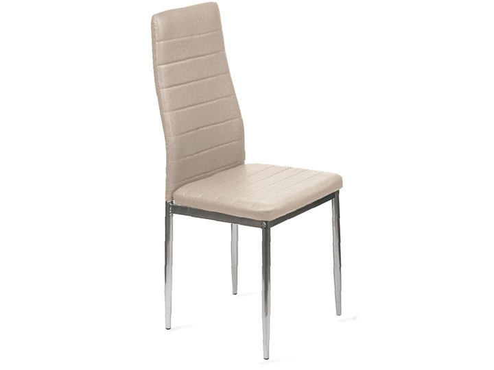 4 KRZESŁA TAPICEROWANE K1 PASY EKOSKÓRA BEŻ, NOGI SREBRNE Kategoria Krzesła kuchenne Stal Metal Tkanina Skóra ekologiczna Kolor Srebrny