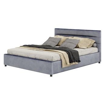Łóżko tapicerowane 160x200 z pojemnikiem - 1218 - szare, welurowe