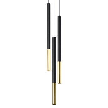 Atrakcyjna Lampa wisząca MOZAICA 3P czarny/złota oprawa na sufit G9 zwis na lince sufitowy tuba styl nowoczesny loft idealna do salonu korytarza sypialni oświetlanie minimalistyczny design żyrandol LED Sollux Ligthing