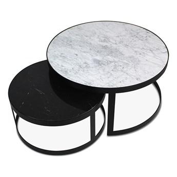 Zestaw stolików Tondo czarny mat szkło transparentne szkło transparentne
