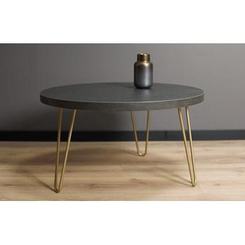 Okrągły stolik kawowy SIMPLE Złoty + Wytrawny szary kamień