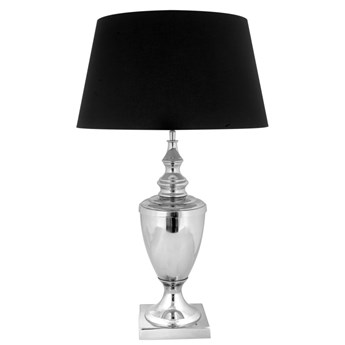 Srebrna lampa na komodę w stylu glamour LUKKA