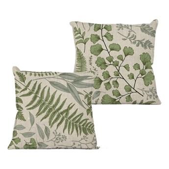 Beżowa poduszka z motywem liści Linen Couture Botanical, 45x45 cm