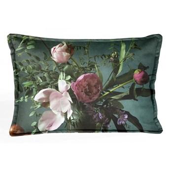 Zielona aksamitna poduszka z kwiatowym wzorem Velvet Atelier Bodegon, 50x35 cm