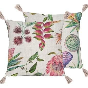 Beżowa poduszka z motywem kwiatów Madre Selva Flores, 45x45 cm