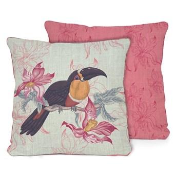 Różowo-beżowa poduszka Madre Selva Toucan, 45x45 cm