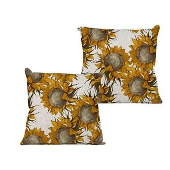 Beżowa poduszka z motywem słoneczników Linen Couture Sunflower, 45x45 cm