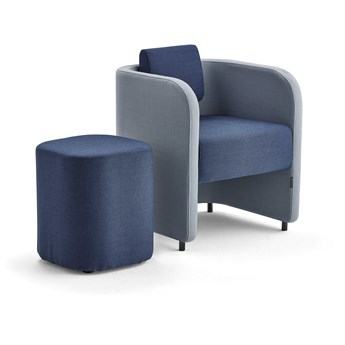 Zestaw mebli COMFY, fotel i stołek, na nóżkach, wełna, błękit/granatowy