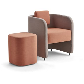 Zestaw mebli COMFY, fotel i stołek, na nóżkach, wełna, srebrnoszary/łososiowy