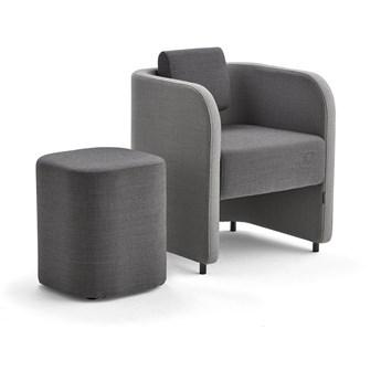 Zestaw mebli COMFY, fotel i stołek, na nóżkach, wełna, jasnoszary/ciemnoszary