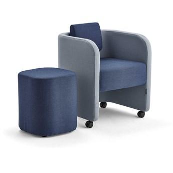 Zestaw mebli COMFY, fotel i stołek, na kółkach, wełna, błękit/granatowy