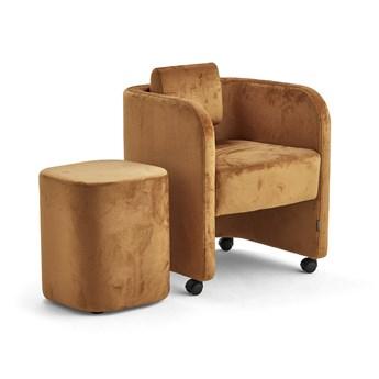 Zestaw mebli COMFY, fotel i stołek, na kółkach, velvet, złoty