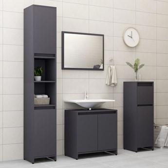 vidaXL 3-częściowy zestaw mebli łazienkowych, szary, płyta wiórowa