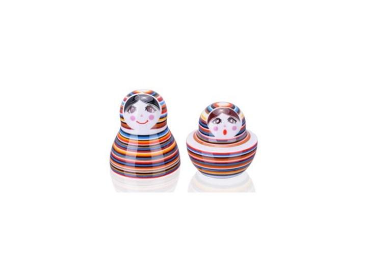 Porcelanowa solniczka i pieprzniczka - Matrioszka Paski Zestaw do przypraw Ceramika Kategoria Przyprawniki Kolor Wielokolorowy