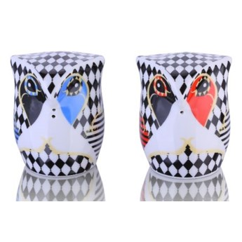 Porcelana solniczka i pieprzniczka - Sówki Romby