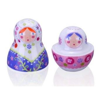 Porcelanowa solniczka i pieprzniczka - Matrioszka Kwiaty