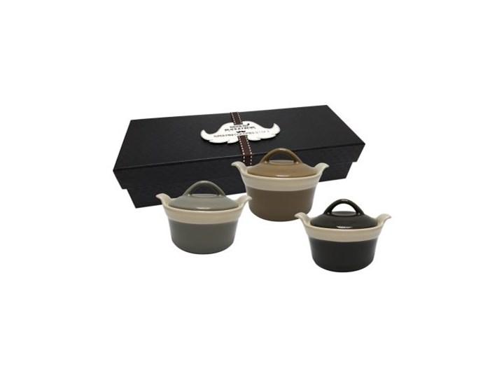 Zestaw trzech kokilek z pokrywkami - Ramekiny Ceramika Kokilka Naczynie z pokrywką Naczynie do zapiekania Kolor Szary