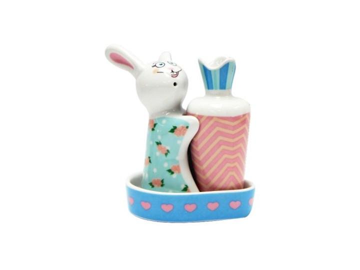 Porcelanowa solniczka i pieprzniczka - Słodki Królik Kategoria Przyprawniki Ceramika Zestaw do przypraw Kolor Wielokolorowy
