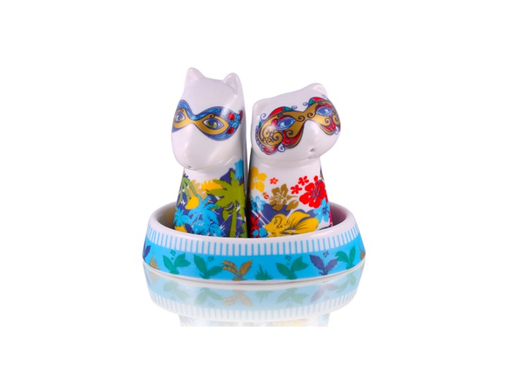 Zestaw solniczka i pieprzniczka - Glamour Maski Kategoria Przyprawniki Ceramika Zestaw do przypraw Kolor Wielokolorowy