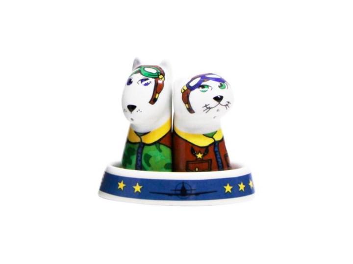 Porcelanowa solniczka i pieprzniczka - Lotnicy Zestaw do przypraw Kategoria Przyprawniki Ceramika Kolor Wielokolorowy