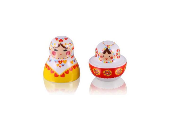 Zestaw solniczka i pieprzniczka - Matrioszka Baba Zestaw do przypraw Ceramika Kolor Czerwony