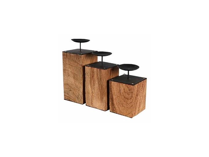 Świecznik 13x13x31 cm Miloo Home Natural Secret brązowo-czarny kod: ML4329 Kolor Brązowy Stal Drewno Metal Kategoria Świeczniki i świece