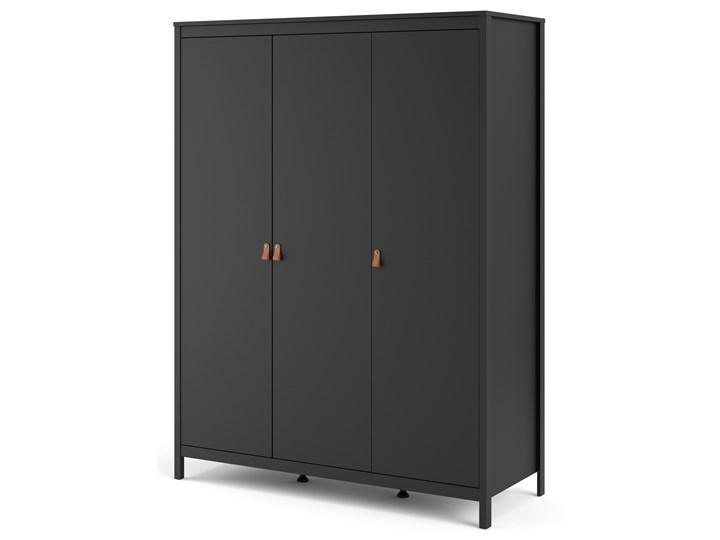 Trzydrzwiowa szafa ubraniowa w kolorze czarnym Madrid 3D Głębokość 58 cm Szerokość 150 cm Wysokość 199 cm Ilość drzwi Trzydrzwiowe
