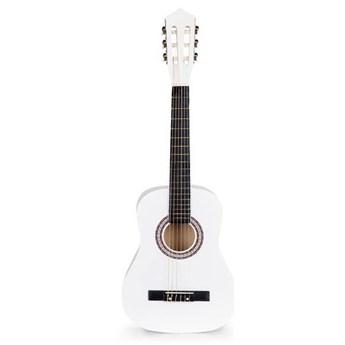 Gitara dla dzieci duża drewniana 6 strun biała ECOTOYS